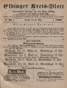 Kreis-Blatt des Königlich Preußischen Landraths-Amtes zu Elbing, Nr. 25 Freitag 26 März 1880