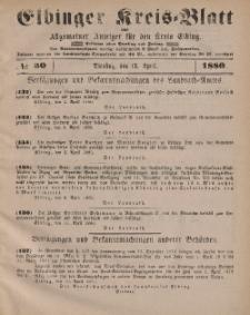 Kreis-Blatt des Königlich Preußischen Landraths-Amtes zu Elbing, Nr. 30 Dienstag 13 April 1880