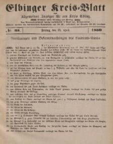 Kreis-Blatt des Königlich Preußischen Landraths-Amtes zu Elbing, Nr. 33 Freitag 23 April 1880