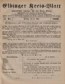 Kreis-Blatt des Königlich Preußischen Landraths-Amtes zu Elbing, Nr. 41 Freitag 21 Mai 1880