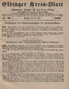 Kreis-Blatt des Königlich Preußischen Landraths-Amtes zu Elbing, Nr. 49 Freitag 18 Juni 1880