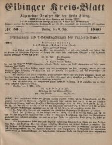 Kreis-Blatt des Königlich Preußischen Landraths-Amtes zu Elbing, Nr. 55 Freitag 9 Juli 1880