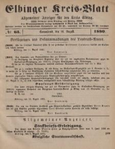 Kreis-Blatt des Königlich Preußischen Landraths-Amtes zu Elbing, Nr. 65 Sonnabend 14 August 1880