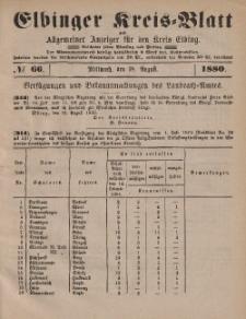 Kreis-Blatt des Königlich Preußischen Landraths-Amtes zu Elbing, Nr. 66 Mittwoch 18 August 1880