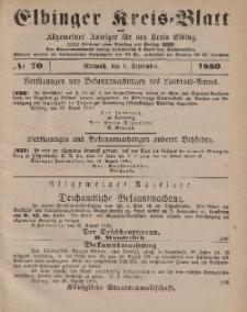 Kreis-Blatt des Königlich Preußischen Landraths-Amtes zu Elbing, Nr. 70 Mittwoch 1 September 1880