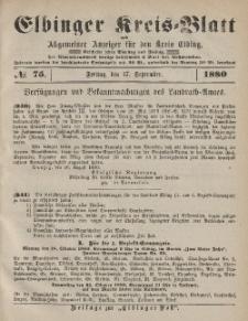 Kreis-Blatt des Königlich Preußischen Landraths-Amtes zu Elbing, Nr. 75 Freitag 17 September 1880