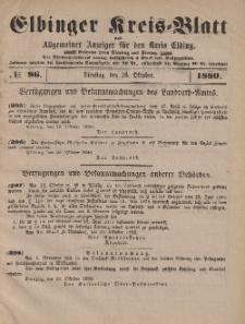 Kreis-Blatt des Königlich Preußischen Landraths-Amtes zu Elbing, Nr. 86 Dienstag 26 Oktober 1880