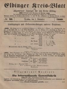 Kreis-Blatt des Königlich Preußischen Landraths-Amtes zu Elbing, Nr. 88 Dienstag 2 November 1880