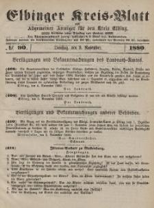 Kreis-Blatt des Königlich Preußischen Landraths-Amtes zu Elbing, Nr. 90 Dienstag 9 November 1880