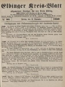 Kreis-Blatt des Königlich Preußischen Landraths-Amtes zu Elbing, Nr. 93 Freitag 19 November 1880