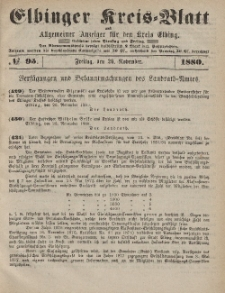 Kreis-Blatt des Königlich Preußischen Landraths-Amtes zu Elbing, Nr. 95 Freitag 26 November 1880