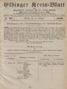Kreis-Blatt des Königlich Preußischen Landraths-Amtes zu Elbing, Nr. 99 Freitag 10 Dezember 1880
