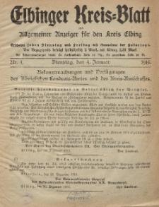 Kreis-Blatt des Königlich Preußischen Landraths-Amtes zu Elbing, Nr. 1 Dienstag 4 Januar 1916
