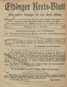 Kreis-Blatt des Königlich Preußischen Landraths-Amtes zu Elbing, Nr. 2 Freitag 7 Januar 1916