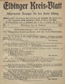 Kreis-Blatt des Königlich Preußischen Landraths-Amtes zu Elbing, Nr. 3 Dienstag 11 Januar 1916