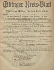 Kreis-Blatt des Königlich Preußischen Landraths-Amtes zu Elbing, Nr. 4 Freitag 14 Januar 1916