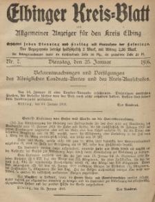 Kreis-Blatt des Königlich Preußischen Landraths-Amtes zu Elbing, Nr. 7 Dienstag 25 Januar 1916