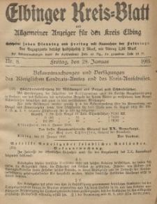 Kreis-Blatt des Königlich Preußischen Landraths-Amtes zu Elbing, Nr. 8 Freitag 28 Januar 1916