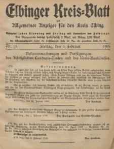 Kreis-Blatt des Königlich Preußischen Landraths-Amtes zu Elbing, Nr. 10 Freitag 4 Februar 1916