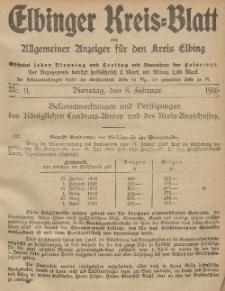 Kreis-Blatt des Königlich Preußischen Landraths-Amtes zu Elbing, Nr. 11 Dienstag 8 Februar 1916
