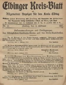 Kreis-Blatt des Königlich Preußischen Landraths-Amtes zu Elbing, Nr. 12 Freitag 11 Februar 1916