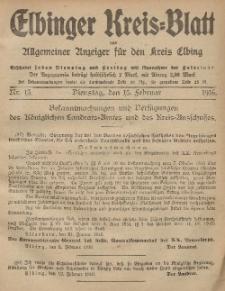 Kreis-Blatt des Königlich Preußischen Landraths-Amtes zu Elbing, Nr. 13 Dienstag 15 Februar 1916
