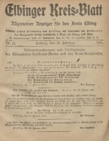 Kreis-Blatt des Königlich Preußischen Landraths-Amtes zu Elbing, Nr. 14 Freitag 18 Februar 1916
