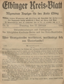 Kreis-Blatt des Königlich Preußischen Landraths-Amtes zu Elbing, Nr. 15 Dienstag 22 Februar 1916