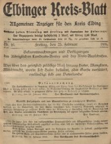 Kreis-Blatt des Königlich Preußischen Landraths-Amtes zu Elbing, Nr. 16 Freitag 25 Februar 1916