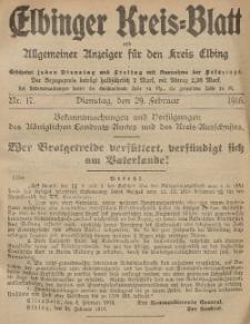 Kreis-Blatt des Königlich Preußischen Landraths-Amtes zu Elbing, Nr. 17 Dienstag 29 Februar 1916