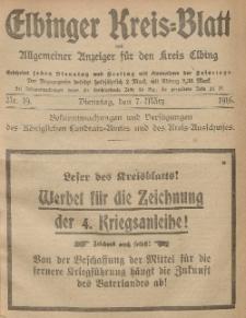 Kreis-Blatt des Königlich Preußischen Landraths-Amtes zu Elbing, Nr. 19 Dienstag 7 März 1916