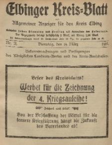 Kreis-Blatt des Königlich Preußischen Landraths-Amtes zu Elbing, Nr. 21 Dienstag 14 März 1916