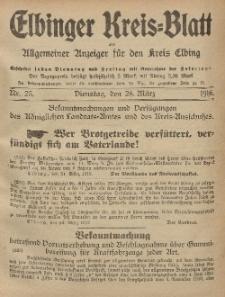 Kreis-Blatt des Königlich Preußischen Landraths-Amtes zu Elbing, Nr. 25 Dienstag 28 März 1916
