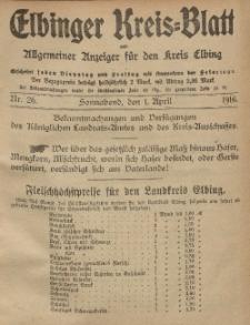 Kreis-Blatt des Königlich Preußischen Landraths-Amtes zu Elbing, Nr. 26 Sonnabend 1 April 1916
