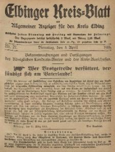 Kreis-Blatt des Königlich Preußischen Landraths-Amtes zu Elbing, Nr. 27 Dienstag 4 April 1916