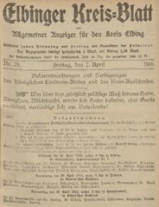Kreis-Blatt des Königlich Preußischen Landraths-Amtes zu Elbing, Nr. 28 Freitag 7 April 1916