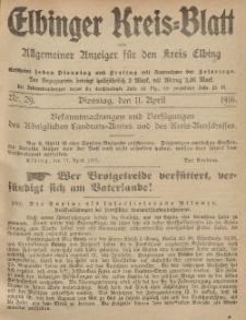 Kreis-Blatt des Königlich Preußischen Landraths-Amtes zu Elbing, Nr. 29 Dienstag 11 April 1916