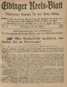 Kreis-Blatt des Königlich Preußischen Landraths-Amtes zu Elbing, Nr. 31 Dienstag 18 April 1916