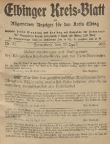 Kreis-Blatt des Königlich Preußischen Landraths-Amtes zu Elbing, Nr. 32 Sonnabend 22 April 1916