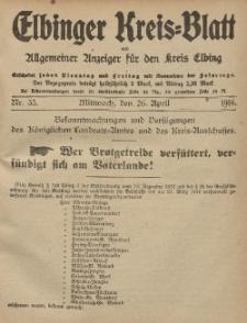 Kreis-Blatt des Königlich Preußischen Landraths-Amtes zu Elbing, Nr. 33 Mittwoch 26 April 1916