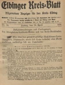 Kreis-Blatt des Königlich Preußischen Landraths-Amtes zu Elbing, Nr. 34 Freitag 28 April 1916