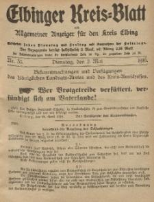 Kreis-Blatt des Königlich Preußischen Landraths-Amtes zu Elbing, Nr. 35 Dienstag 2 Mai 1916