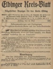 Kreis-Blatt des Königlich Preußischen Landraths-Amtes zu Elbing, Nr. 40 Freitag 19 Mai 1916