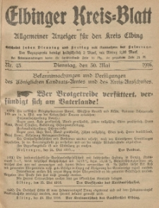 Kreis-Blatt des Königlich Preußischen Landraths-Amtes zu Elbing, Nr. 43 Dienstag 30 Mai 1916
