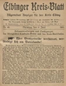 Kreis-Blatt des Königlich Preußischen Landraths-Amtes zu Elbing, Nr. 45 Dienstag 6 Juni 1916