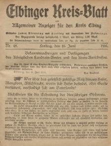 Kreis-Blatt des Königlich Preußischen Landraths-Amtes zu Elbing, Nr. 48 Freitag 16 Juni 1916
