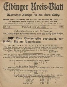 Kreis-Blatt des Königlich Preußischen Landraths-Amtes zu Elbing, Nr. 49 Dienstag 20 Juni 1916