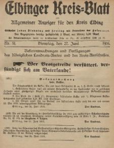 Kreis-Blatt des Königlich Preußischen Landraths-Amtes zu Elbing, Nr. 51 Dienstag 27 Juni 1916