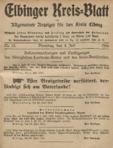 Kreis-Blatt des Königlich Preußischen Landraths-Amtes zu Elbing, Nr. 52 Freitag 30 Juni 1916