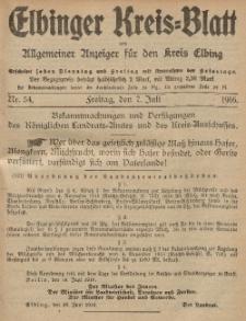 Kreis-Blatt des Königlich Preußischen Landraths-Amtes zu Elbing, Nr. 54 Freitag 7 Juli 1916